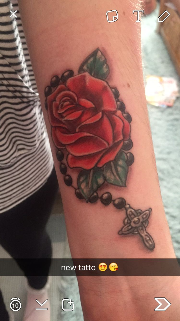 rose and rosery tattoo (With images)   Rose vine tattoos, Tattoos, Vine tattoos
