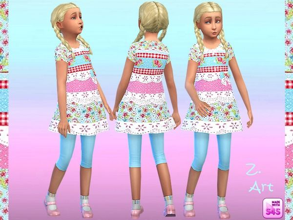 The Sims Resource: Patchwork dress by Zuckerschnute20 • Sims 4