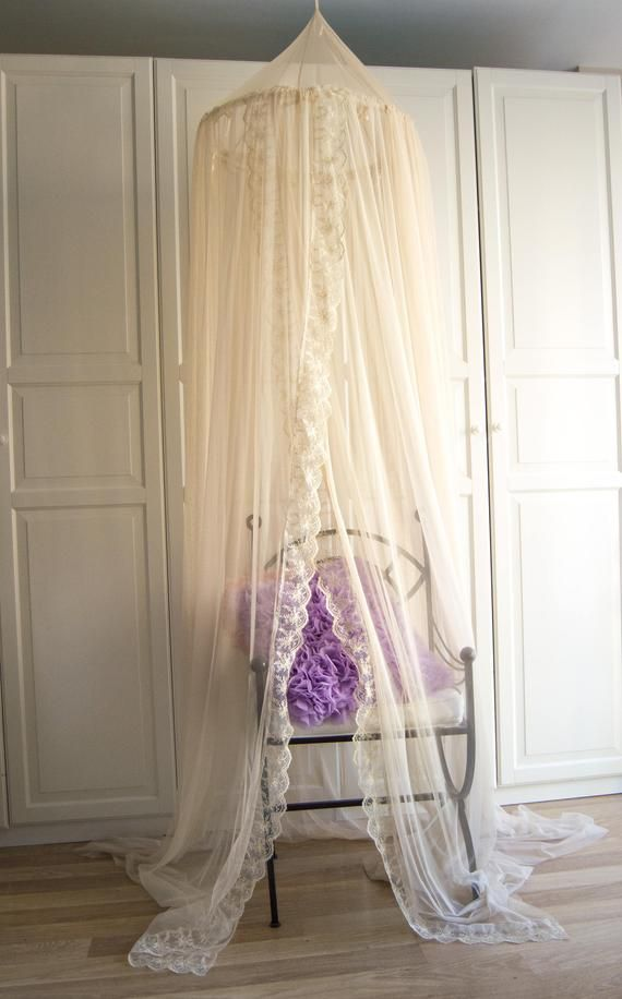 Cream Tulle And Lace Baldachin Play Canopy Crib Canopy