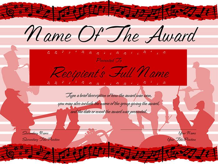 Red-Marching-Band-Award-Certificate Projects to try Pinterest - copy free certificate of completion templates for word