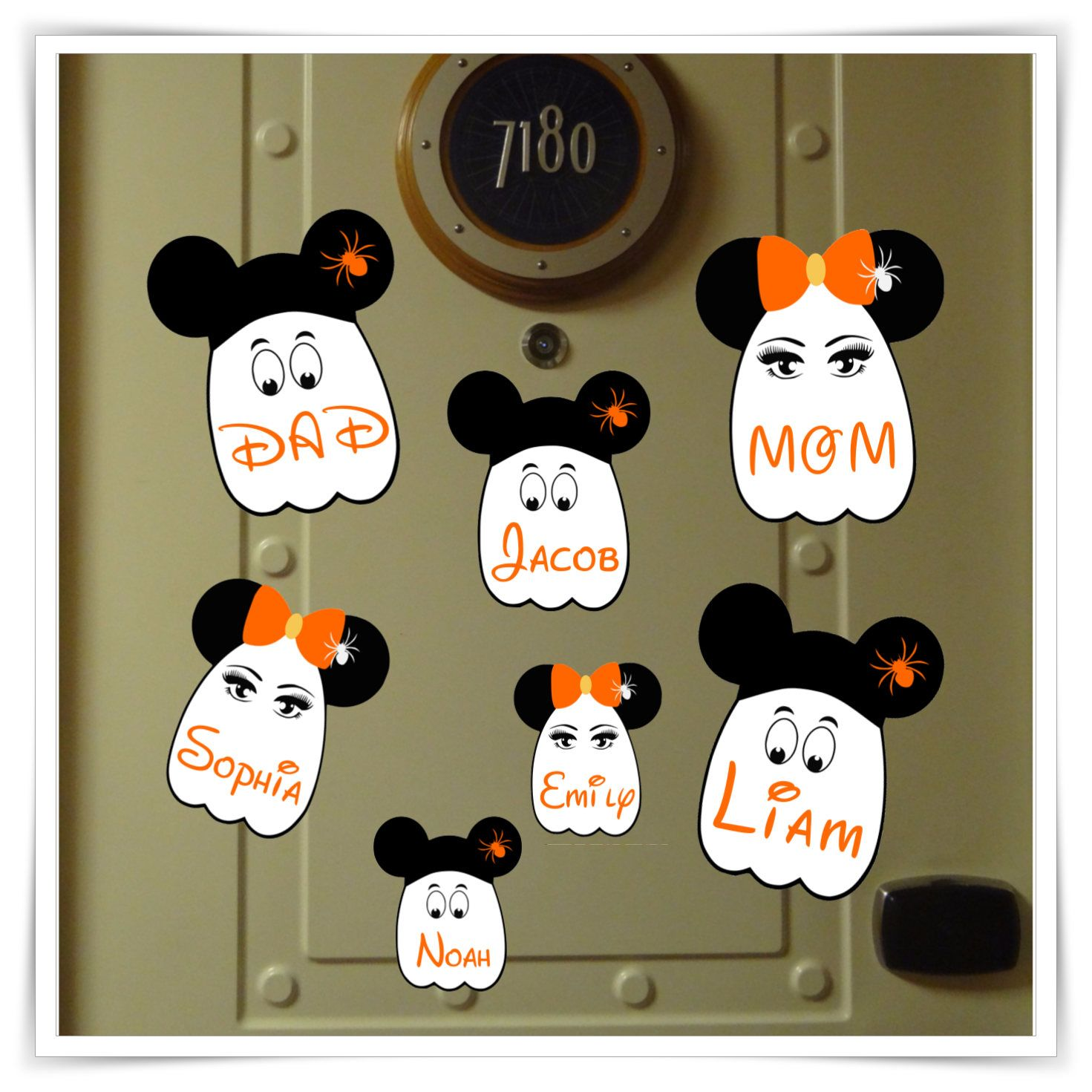 Disney Cruise Line Personalised Halloween Bat Mickey//Minnie Ears Door Magnet