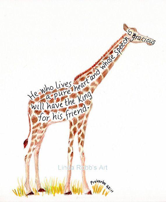 Giraffe Quotes: Bible Verse Art Print, Scripture Design, Hand Lettered