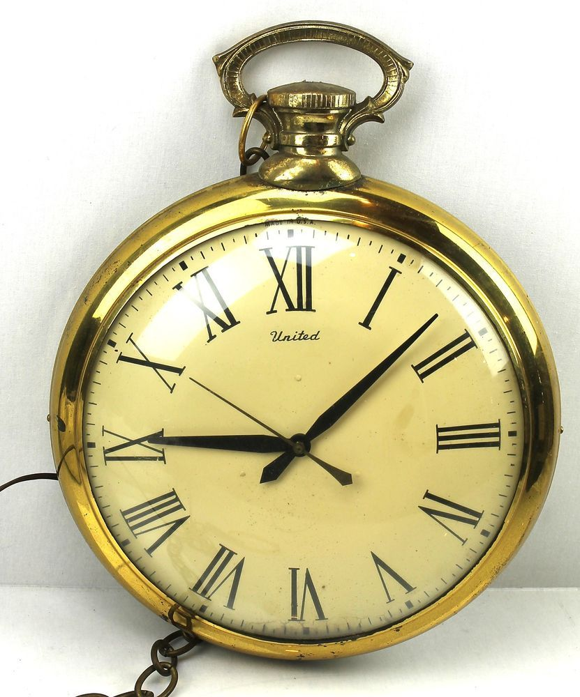 United Clock 13x17 vintage Brass Hanging POCKET WATCH WALL CLOCK