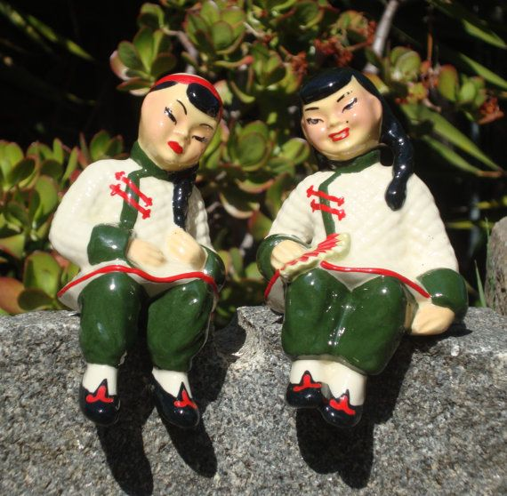Shelf Sitters, Porcelain Figurines, Asian Boy And Girl By