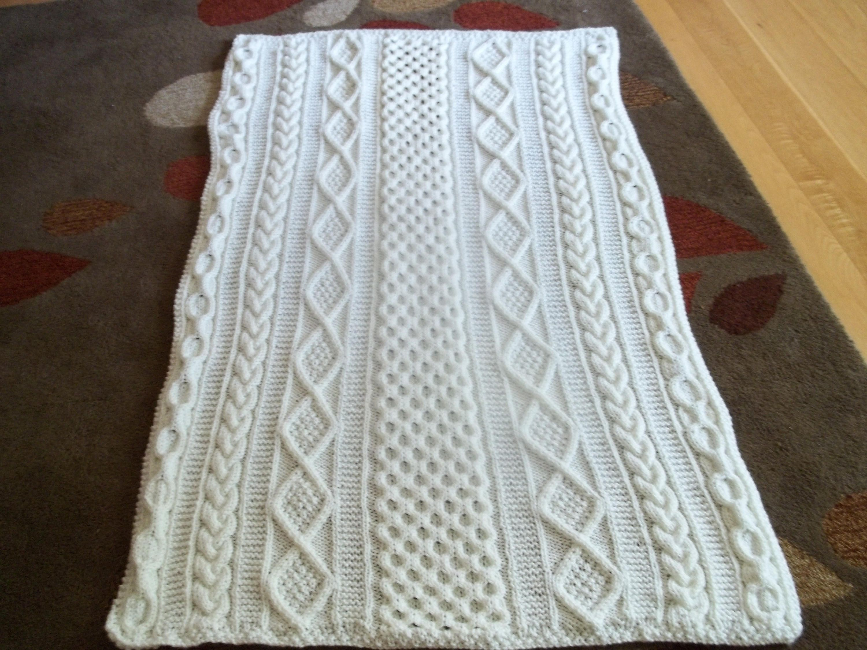 Knit Afghan, Kelly Cable in Soft White, Blanket, Lap Blanket ...