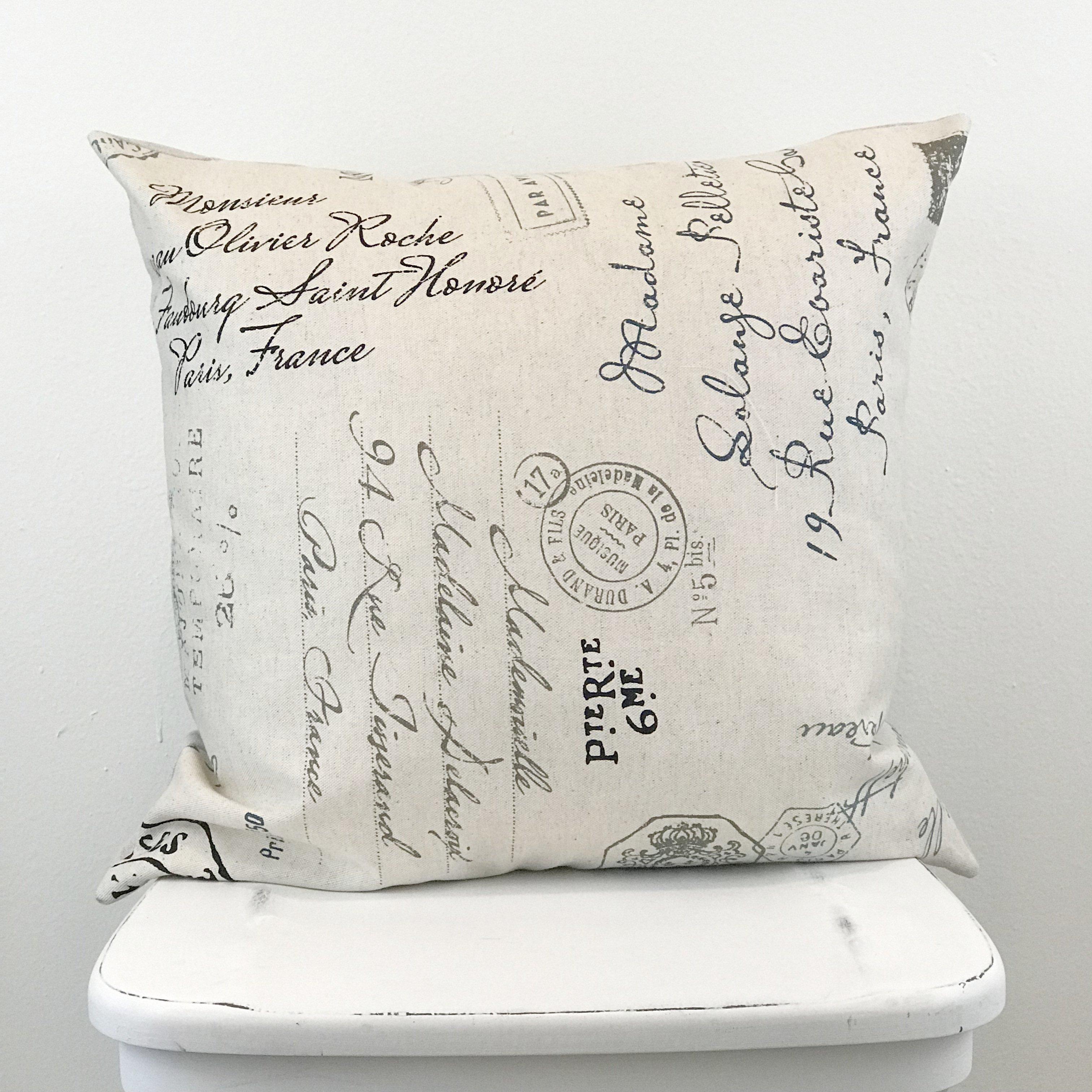 French Script Pillow Cover Script Pillows Pillow Covers Pillows