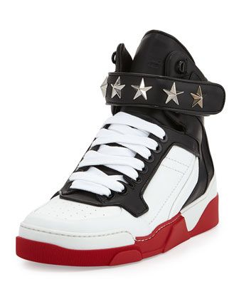 Givenchy Tyson Star Red Sole High Top Sneaker, BlackWhite
