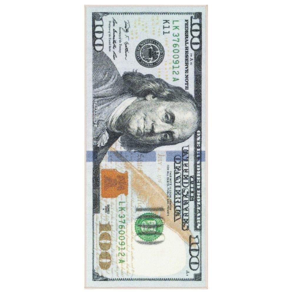 Ottomanson Siesta Kitchen Collection 100 Dollar Bill Design Multi 2 Ft X 4 Ft Runner Rug Stk3112 22x53 The Home Depo In 2020 Rug Runner 100 Dollar Bill Dollar Bill