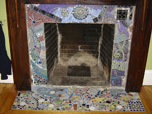 Oak Tree Glass Mosaic for Fireplace Front by Theodore Ellison