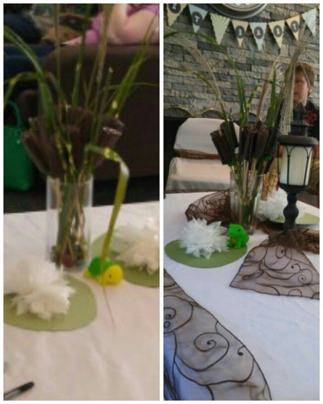 Cattails for a pond themed shower. Made from hohos, small ...