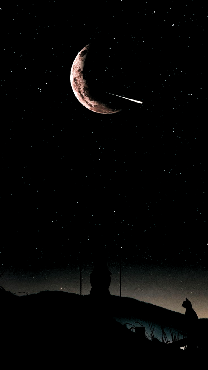 Alone In The Night Sky Lonely In The Night Sky Wallpaper Iphone Android Back Android Night Sky Hd Night Skies Fantasy Background