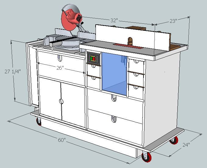 Planning the makeover 3 sketchup plans miter saw for Table design sketchup