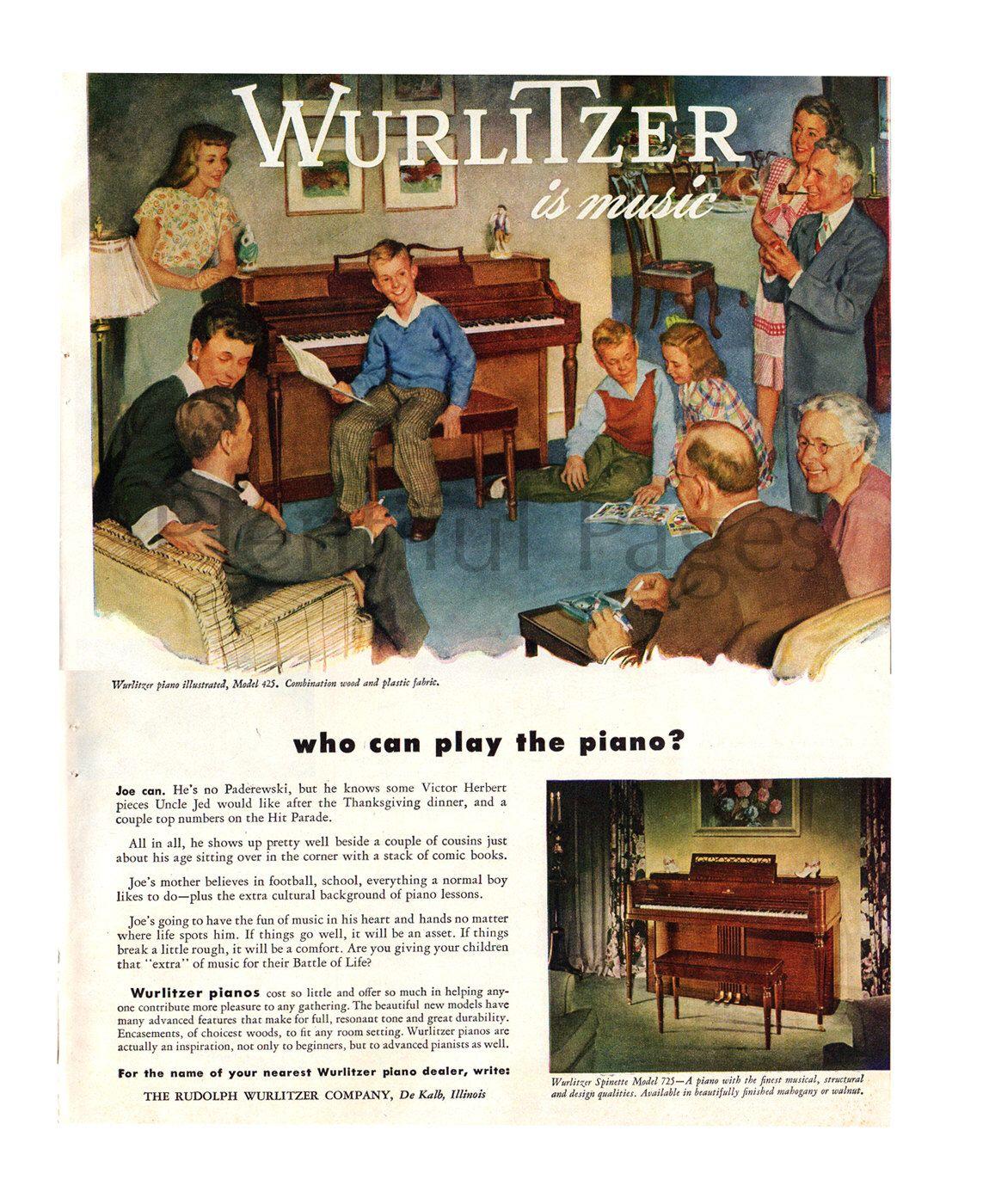 1947 Wurlitzer Piano Vintage Ad 1940 S Decor 1940 S Etsy Vintage Illustration Vintage Ads 1940s Decor