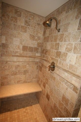 walk in Tile Shower... Because sometimes I want to sit down while I ...
