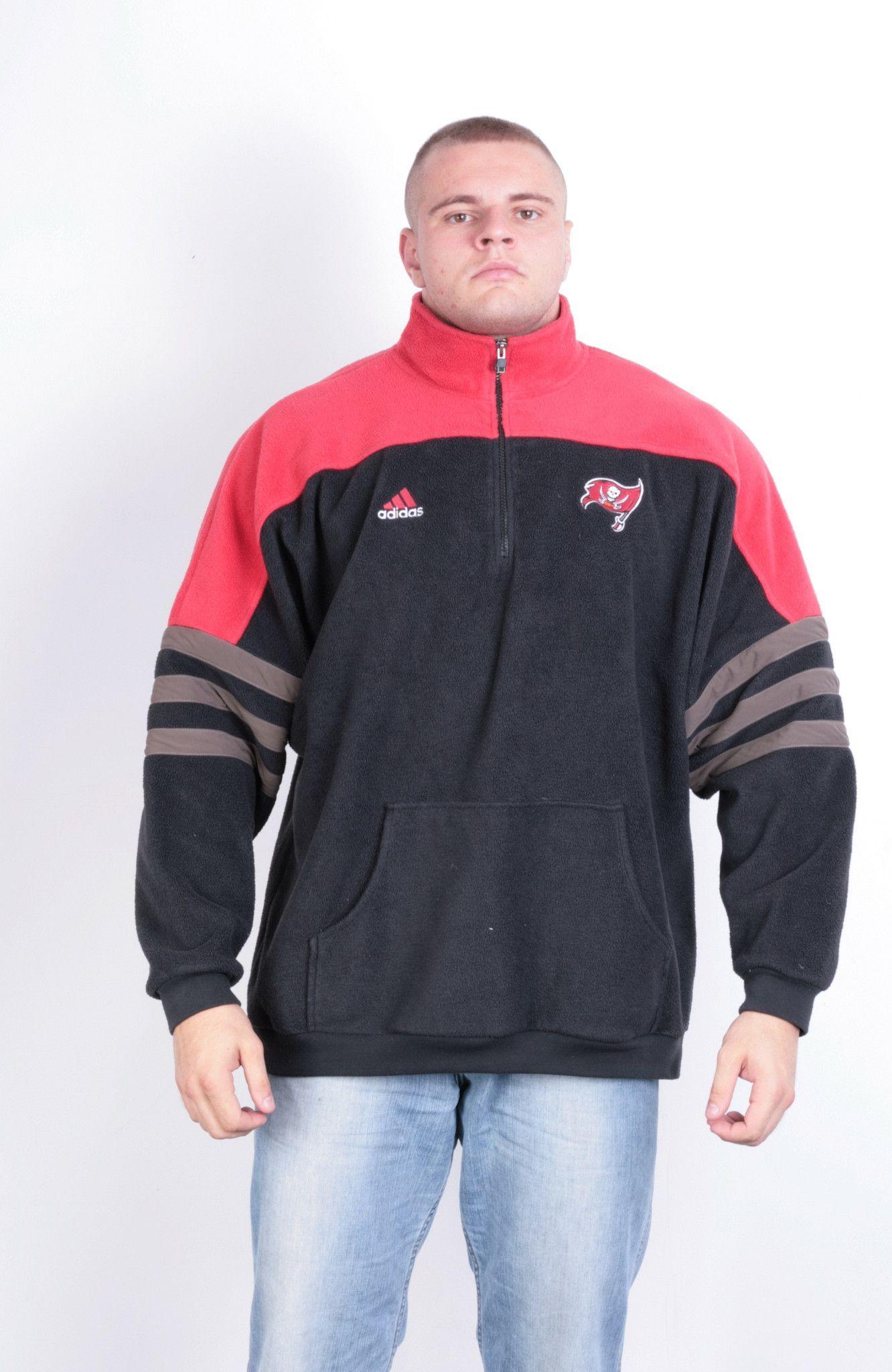 NFL Pro Line Tampa Bay Buccaneers Adidas Mens 2XL Sweatshirt Fleece Top Zip Neck Black