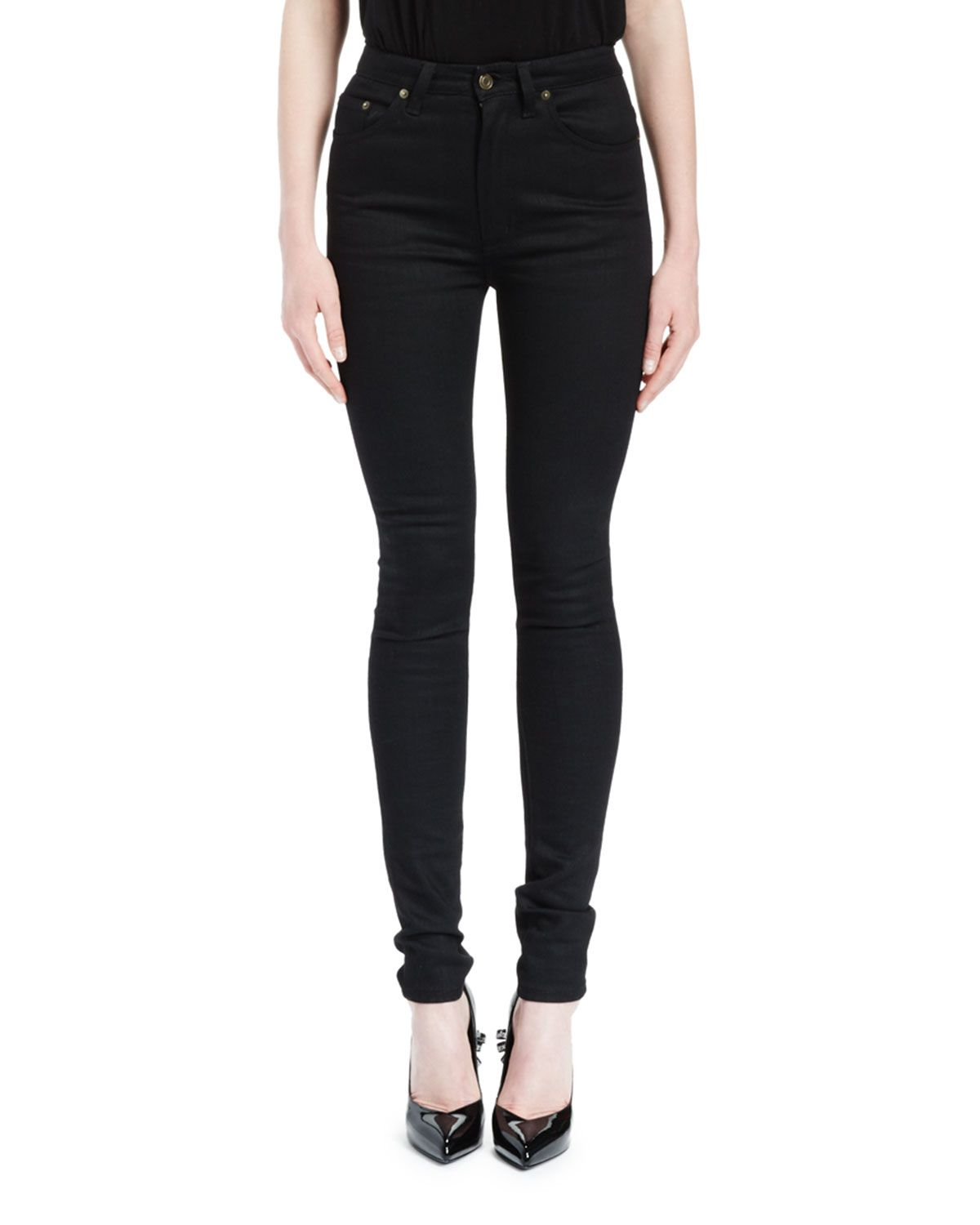 ef7f87de31c High-Waist Five-Pocket Skinny Jeans Black | *Neiman Marcus* | High ...