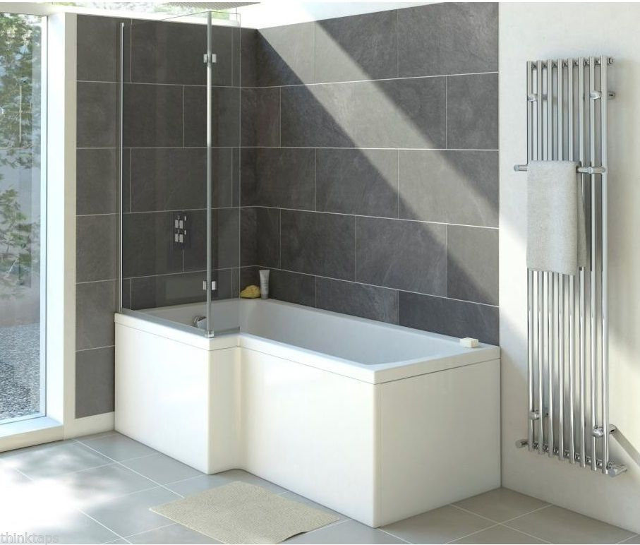 1700mm L Shape Shower Bath Tub Left Hand With Screen And Side Panel L Shaped Bath Bathroom Shower Design Shower Bath