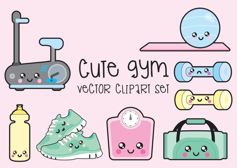 premium vector clipart kawaii workout clipart kawaii gym clip art set high quality [ 1500 x 1060 Pixel ]