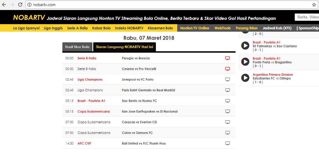 Nobartv Com Nonton Tv Live Streaming Siaran Langsung Pertandingan Sepak Bola Online Lengkap Dengan Jadwal Bola Hari Ini Video Sepak Bola Liga Inggris Kuis