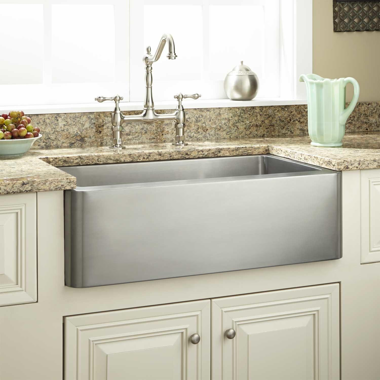 24 Fournier Stainless Steel Farmhouse Sink In Curved Apron Signature Hardware Stainless Steel Farmhouse Sink Farmhouse Sink Kitchen Kitchen Fixtures