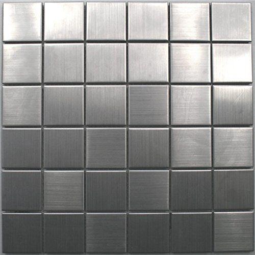 Edelstahl Mosaik Fliesen 48x48x8mm Silber - 1 Matte Amazonde