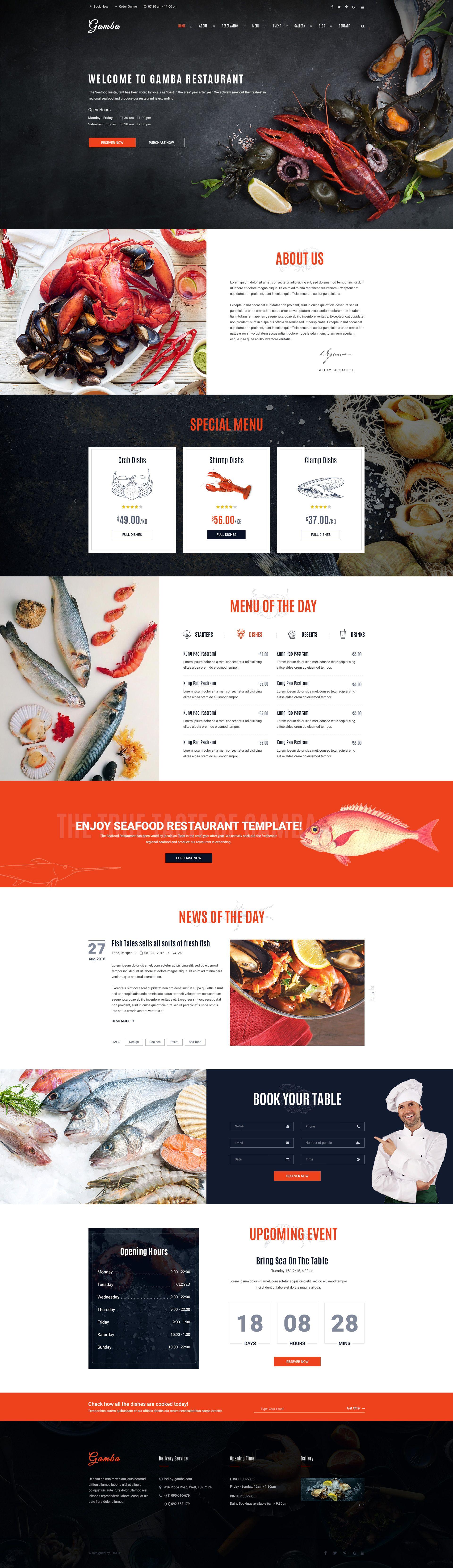 Gamba - Food & Restaurant PSD Template | Bakery cafe, Psd templates ...