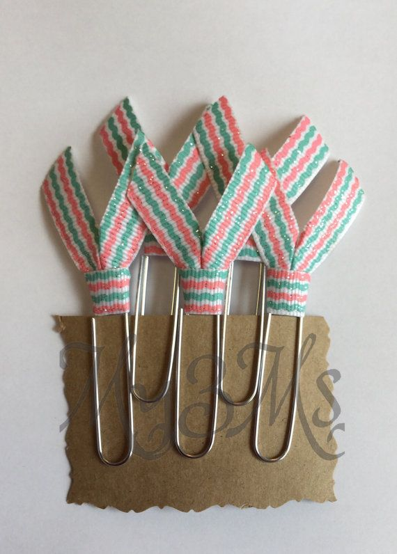 Aqua Coral Ribbon Clips, Erin Condren Planner clips, life planner, plum paper planner, daily planner, Filofax, weekly, ribbon bookmarks,