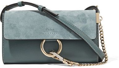 Chloé Faye Mini Leather And Suede Shoulder Bag Petrol
