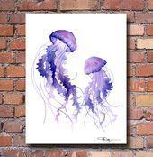 Dancing Jellyfish Art Print-Aquarell-Abstrakte Malerei-Wanddekor  Tanzende Qu...,  #Art #Dancing #Jellyfish #malereiinspirationwand #MalereiWanddekor #PrintAquarellAbstrakte #Tanzende