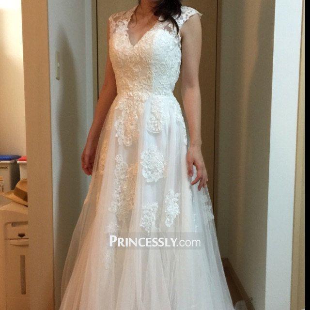 """V Neck Ivory Lace Tulle Wedding Dress"" ---- Princessly.com Customer Photos"