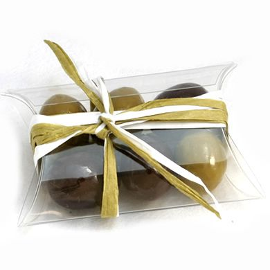 estuche petaca transparente aceitunas de chocolate | Regalosyeventos