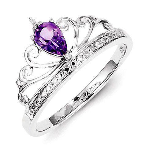 Sterling Silver Teardrop Amethyst and Diamond Crown Ring Amethysts