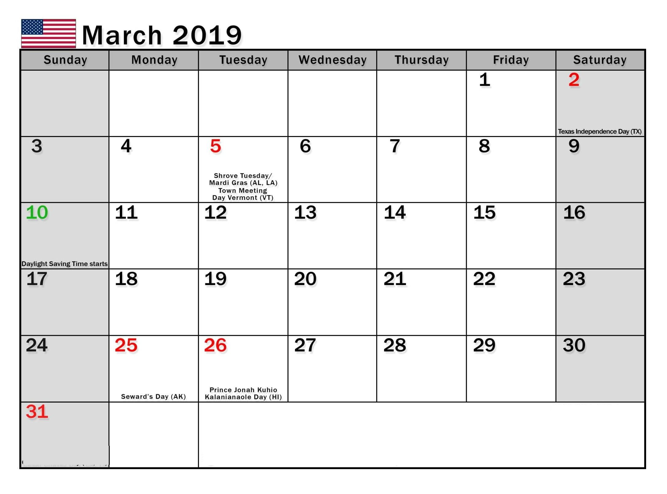 March 2019 Holidays Calendar Printable Holiday Calendar