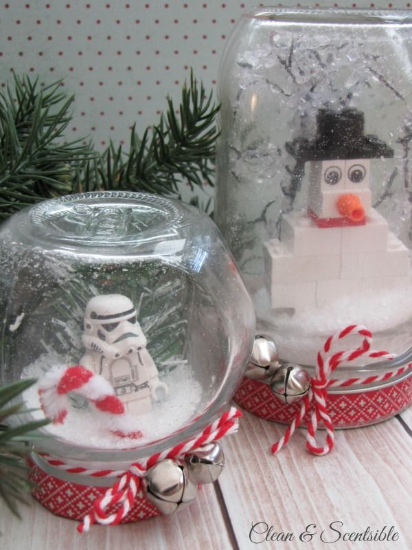Lego Snow Globes With Images Mason Jar Christmas Gifts