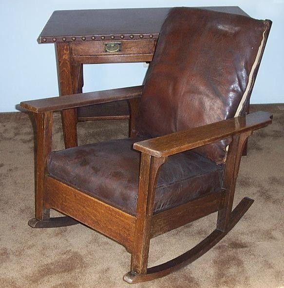 I Have One Similar To This Chairs Pinterest Rockers Empire   Antique  Leather Rocking Chair