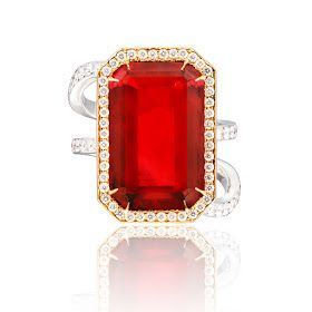 ANNA HU ~ Modern Art Deco Ring in Rubellite