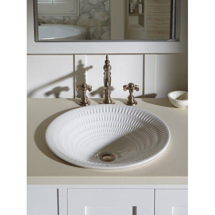 Photo of Kohler Derring Carillon Wading Ceramic Circular Drop-In Bathroom Sink   Birch La…