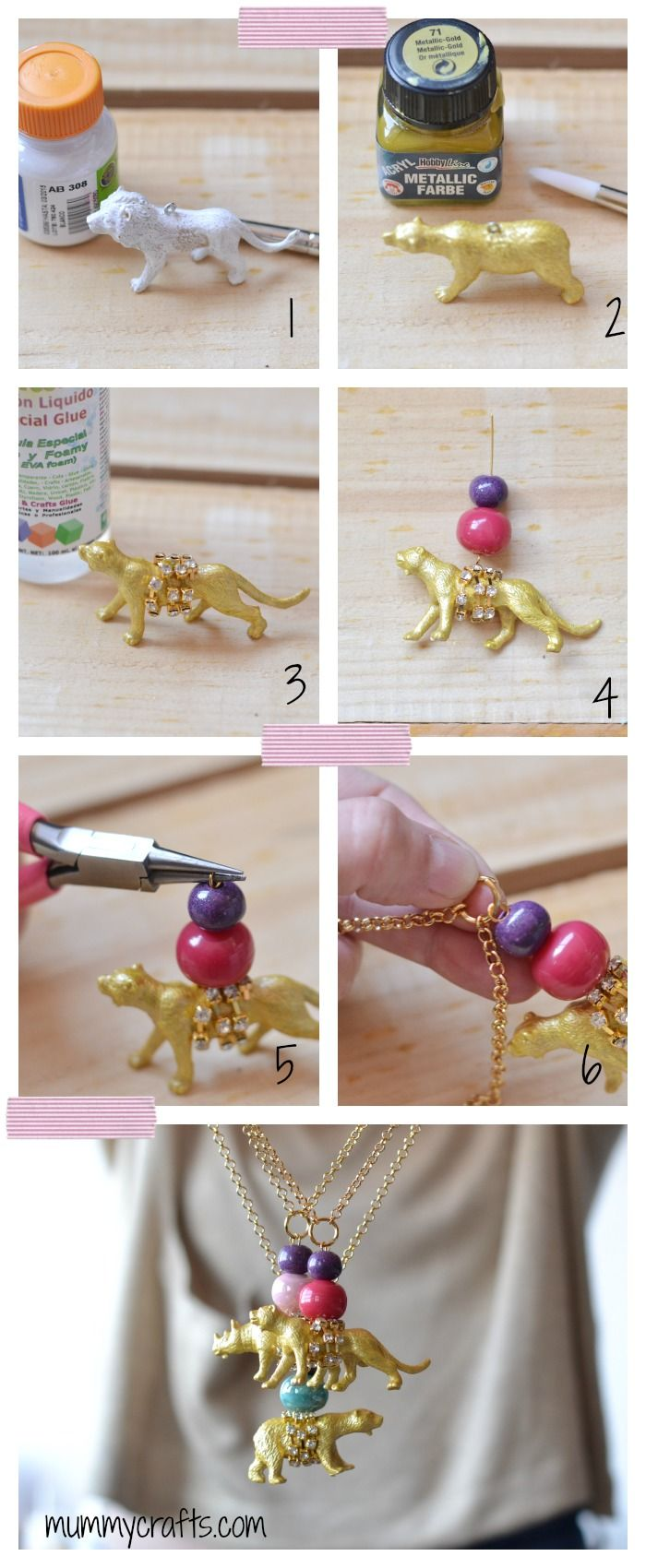 how to make necklaces with plastic animals step by step diy create pinterest. Black Bedroom Furniture Sets. Home Design Ideas
