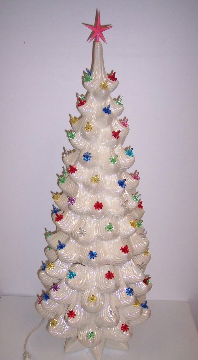 32 Vintage Ceramic Christmas Tree Atlantic Mold Lighted Iridescent