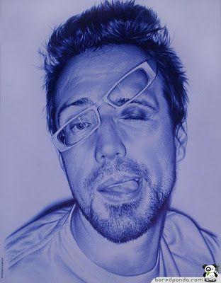 Photo-real drawings with a bic pen.  Artist Juan Francisco Casas
