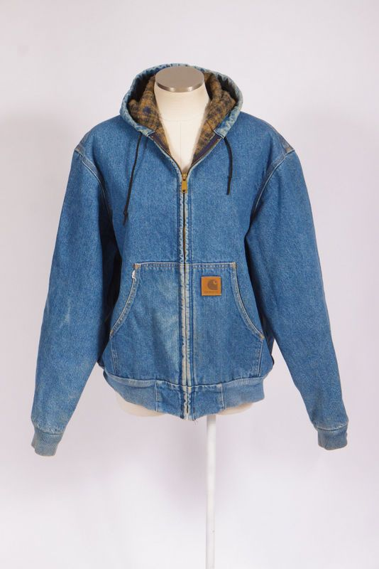 0b9867720dc9d8 Vtg 90s CARHARTT Faded Blue Denim Flannel Lined Hooded Jean Bomber Jacket  Coat L | Clothing, Shoes & Accessories, Vintage, Men's Vintage Clothing |  eBay!