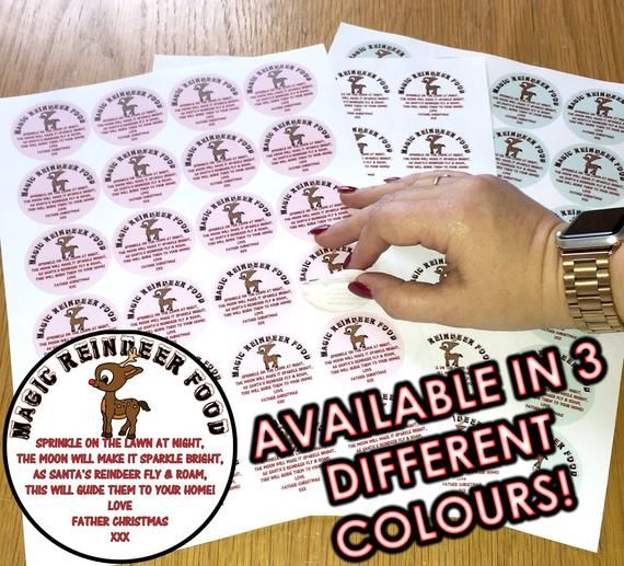 Magic Reindeer Food Stickers - three colours to choose from - 24, 48 or 72 sticky labels - DIY Craft #reindeerfoodrecipe