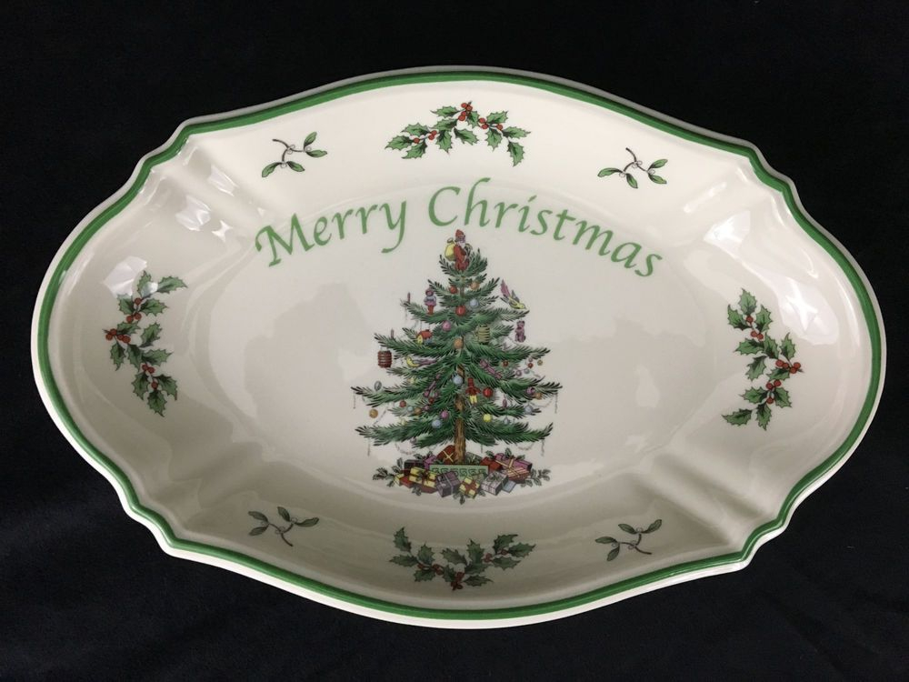 Christmas Platters For Sale.Spode Merry Christmas Tree Serving Tray 11x7inch White