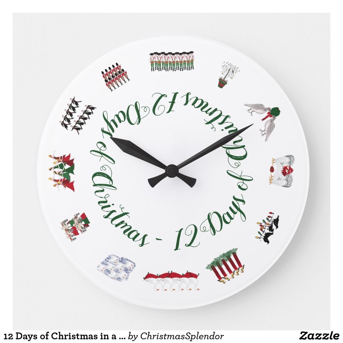 12 Days Of Christmas In A Circle Of Red And Green Large Clock Zazzle Com Zazzle Podartist Community Latest Designs 12 Days Of Christmas Large Clock C