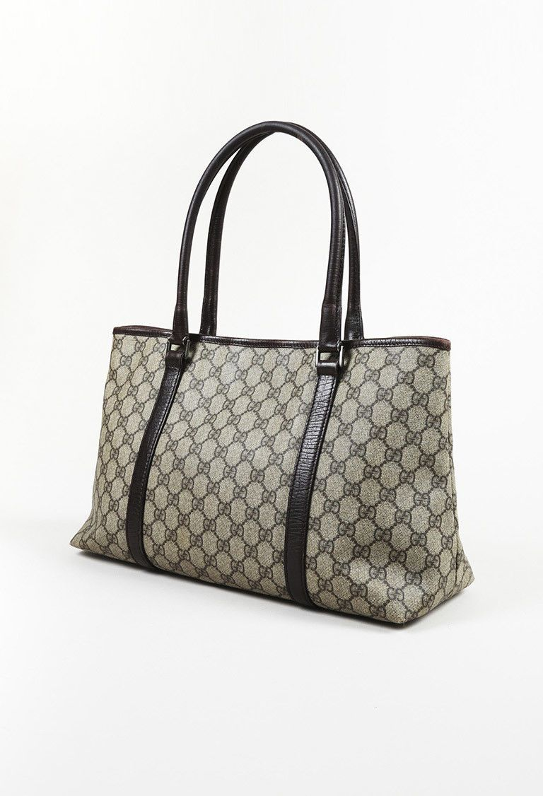 2c58f14d919d4d Details about Gucci Micro Logo Gg Monogram Zip Tote Brown Coated ...
