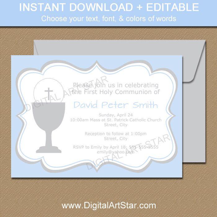 Blue \ Gray First Communion Invitation Template - Printable Boy Holy - invitation templates holy communion