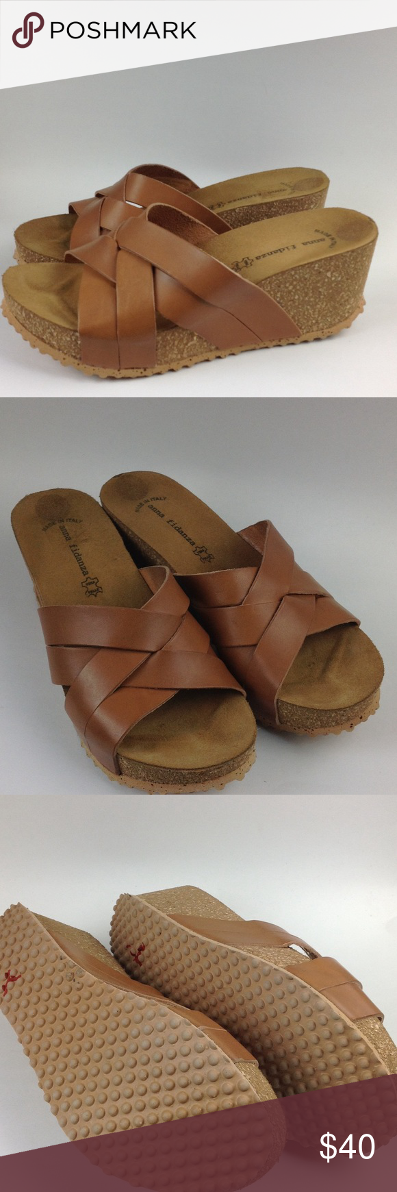 Anna Fidanza Sandal Wedge Shoes Size 8 Leather Really great condition Light weight and super comfy Anna Fidanza Shoes Sandals