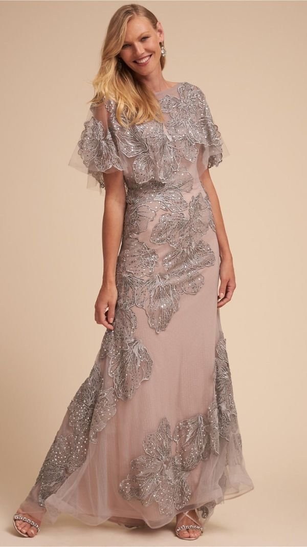 Embroidered and embellished silver lace Mother-of-the-Bride gown ...