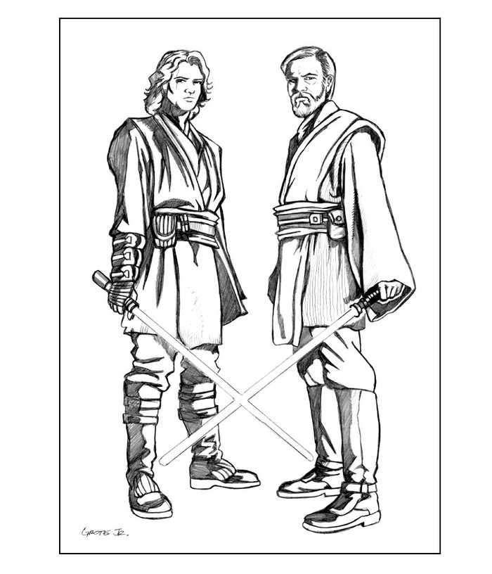 Free Printable Coloring Page Of Anakin Skywalker And Obe Wan Kenobi Star Wars Colors Coloring Pages Star Wars Coloring Sheet