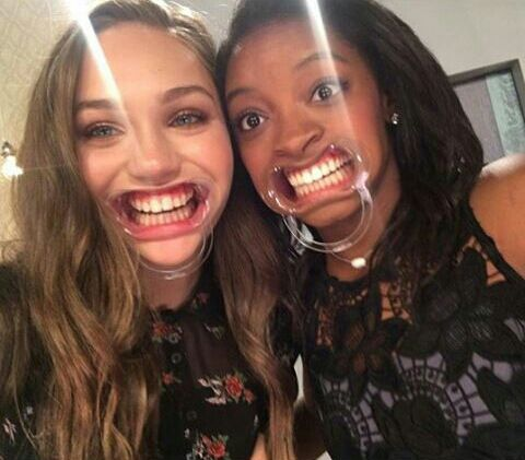 """thosedmkids: """"Maddie, with Simone Biles at the Ellen Show. """""""